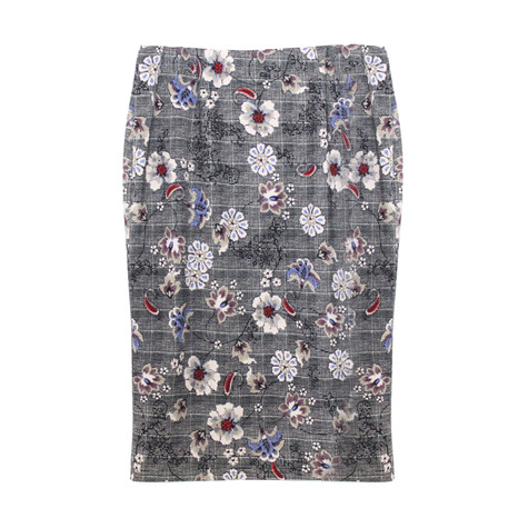 Zapara Grey Flower & Check Pattern Skirt