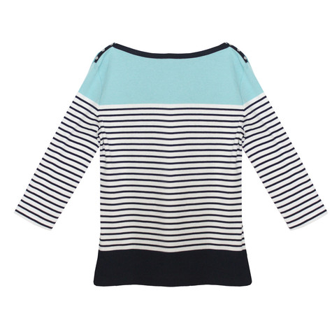 Twist Navy & Pale Blue Stripe Knit Top