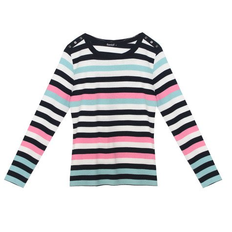 Twist Navy Opal Stripe Long Sleeve Top