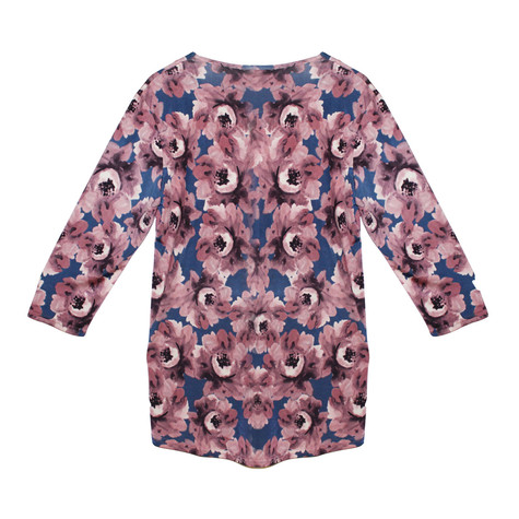 Twist Pink Flower Pattern Print Loose Top