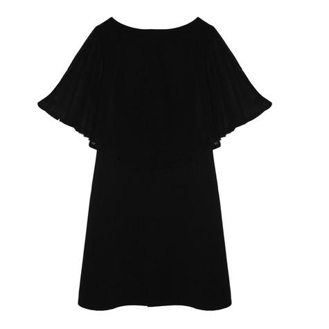 SophieB Black Mesh Shoulder Cape Red Dress