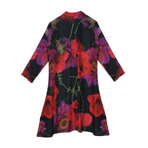 SophieB Black & Red Collar Long Shirt Dress