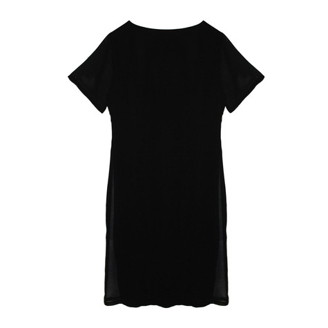 SophieB Black & Navy Mesh Sleeve Dress