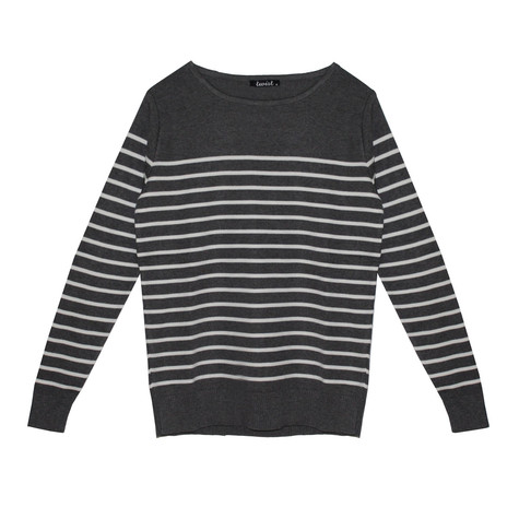 Twist Gautier Style Grey & White Strip Knit