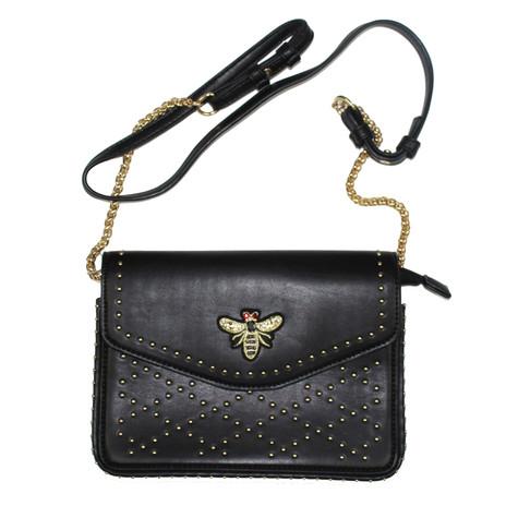 Mimosa Black Gold Stud & Fly Detail Handbag