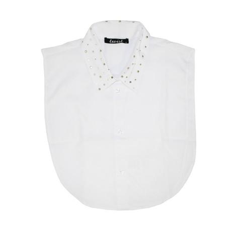Twist Stud Detail White Bib Collar