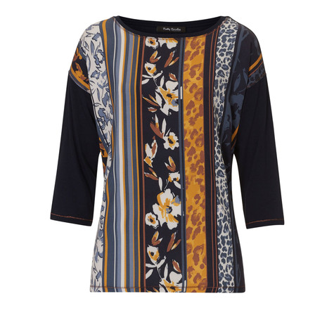 Betty Barclay Dark Strip and Floral Print Top