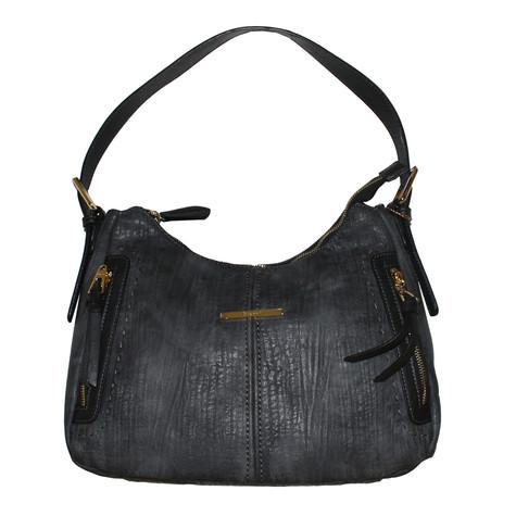 Gionni Charcoal Gold Zip Detail Handbag
