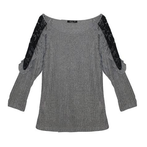 SophieB Grey Light Rib Black Lace Shoulder Finish Top