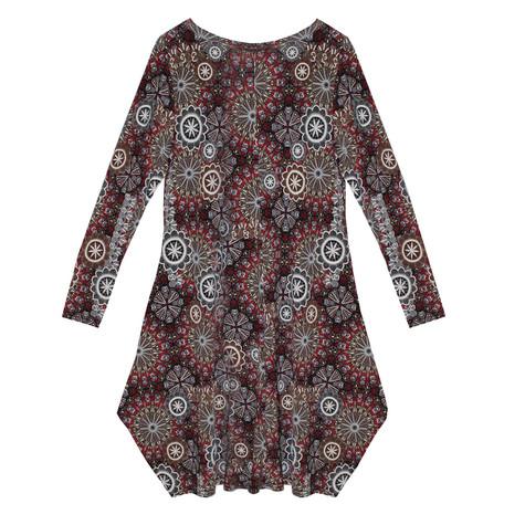 SophieB Red Samba Swirl Print Round Neck Dress