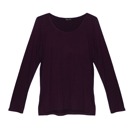 SophieB Purple Round Neck Long Sleeve Top