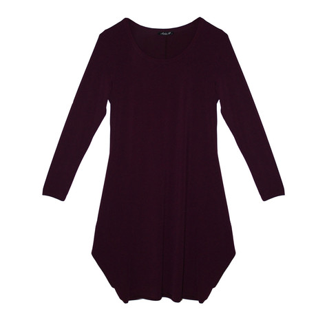 SophieB Bordeaux Round Neck Long Sleeve Dress