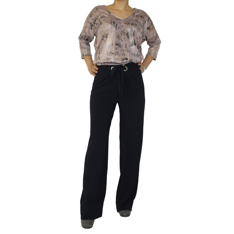 SophieB Navy Wide Leg Straight Trousers