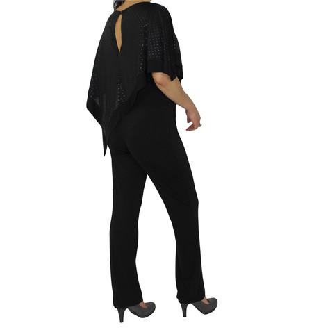 Zapara Black Mesh Cape Jumpsuit