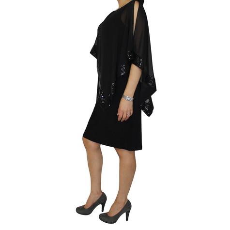 Scarlett Cape Sequence Black Dress