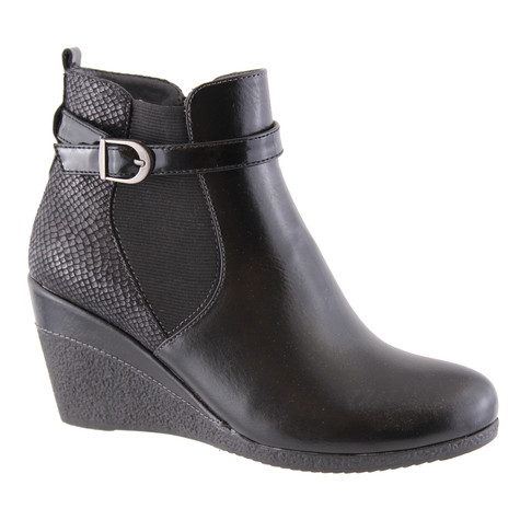 Susst Asha Black Wedge Ankle Boot
