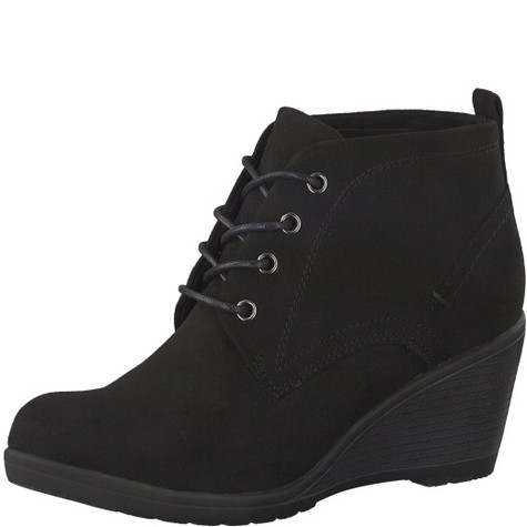 Marco Tozzi Black Laced Plain Front Ankle Boot