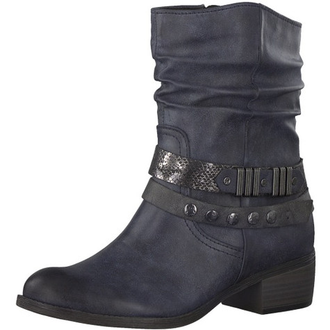 Marco Tozzi Navy Plain Front Ankle Boot