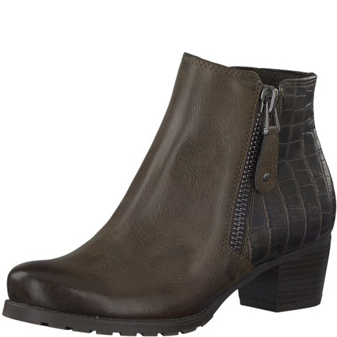 Marco Tozzi Brown Croc Print Ankle Boot