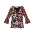 SophieB Wine & Gold Abstract Pattern Top