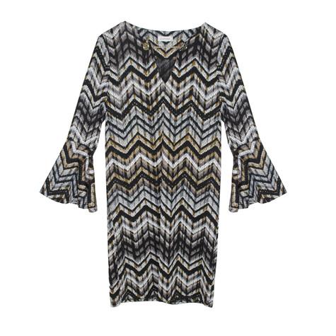 Zapara Black & Grey Eyelet Neck Detail Dress