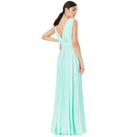 Goddiva SILVER PLEATED OSCAR DRESS