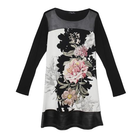 SophieB Floral Black & White Long Sleeve Dress