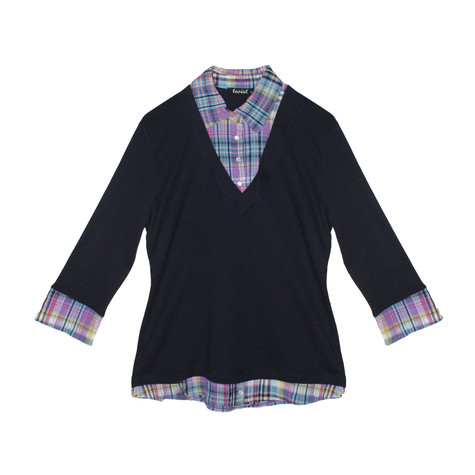 Twist Navy Opal 2 in 1 Check Top