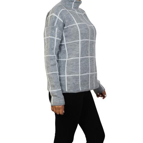 Twist White Panel Stripe Grey Chimney Neck Knit