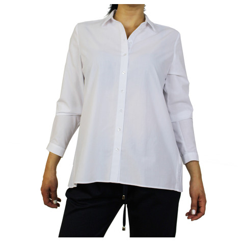 ERFO White Pleat Black Detail Blouse