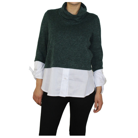 SophieB Green Turtle Neck 2 in 1 Top
