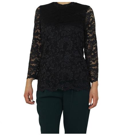 Zapara Black Lace Long Sleeve Top