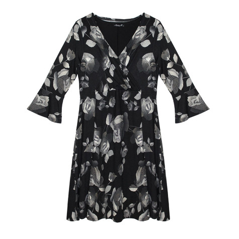 SophieB Metallic leaf Pattern Print Black Dress