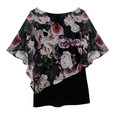 Zapara Black Rose Print Cape Top