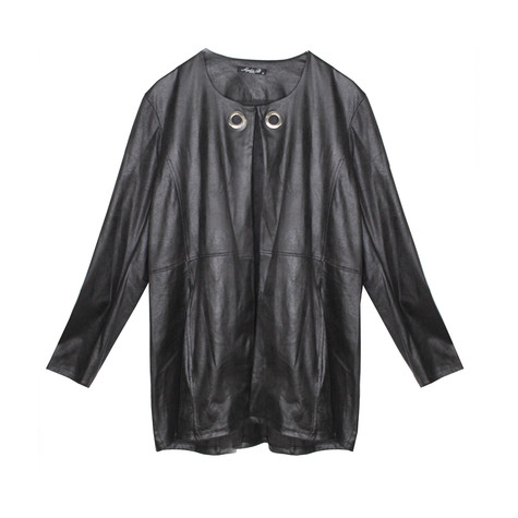 SophieB Black Suede Effect Eyelet Jacket