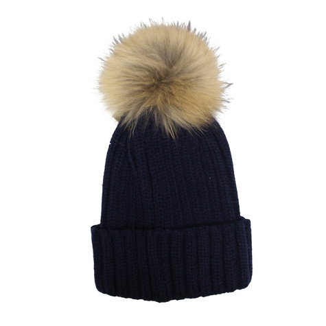 Victoria Navy Furry Bobble Hat