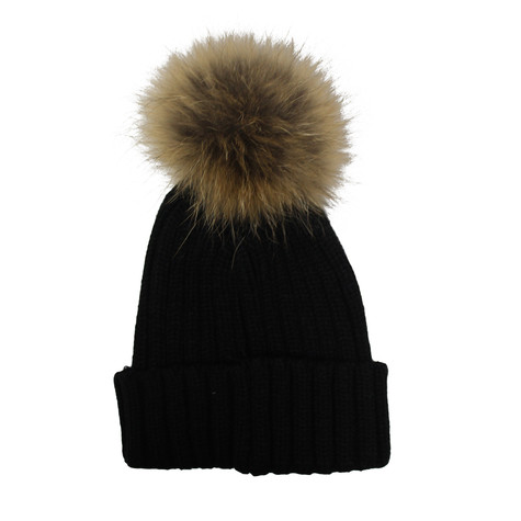 Victoria Black Furry Bobble Hat