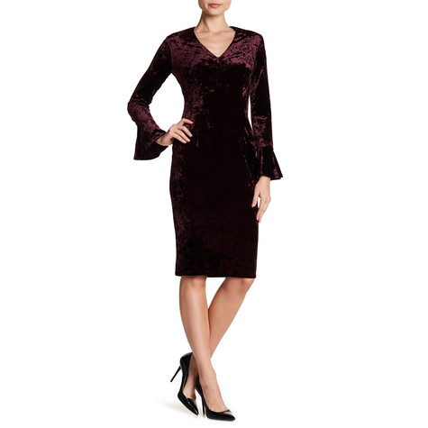London Times Crushed Raisin Velvet V-Neck Bell Sleeve Sheath Dress