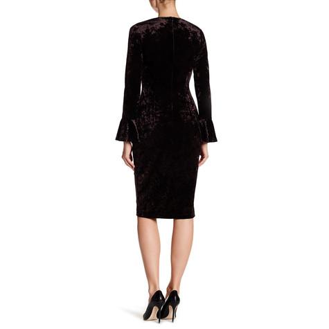 London Times Crushed Black Velvet V-Neck Bell Sleeve Sheath Dress