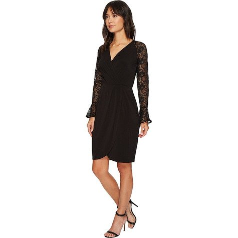 London Times Black Bell Sleeve Faux Wrap Dress