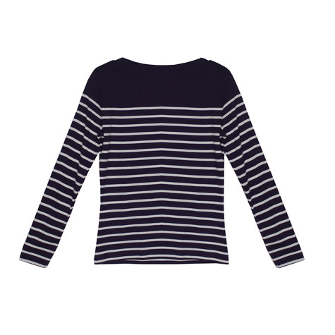 Twist Aubergine & White Stripe Round Neck Top
