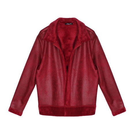 SophieB Red Faux Suede Collar Coat