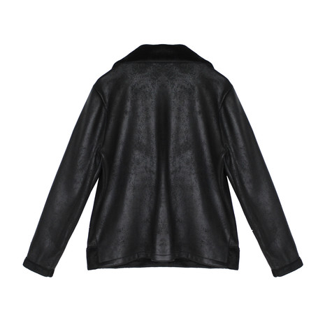 SophieB Black Faux Suede Collar Coat