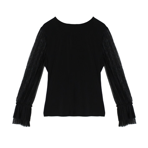 London Times Black Mesh Sleeve Round Neck Top