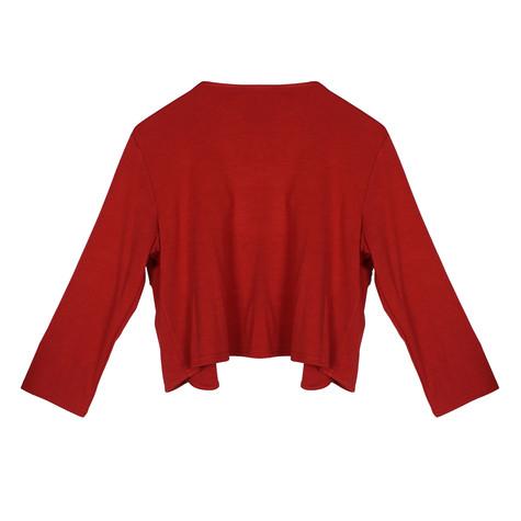 Zapara Red Scallop Crop Jacket