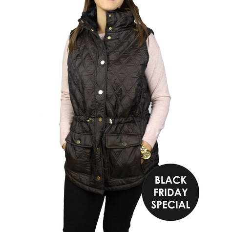 Casual Identity Brown Light Weight Fur Collar Gilet - BLACK FRIDAY SPECIAL -