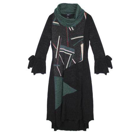 SophieB Green Glitter Cowl Neck Dress