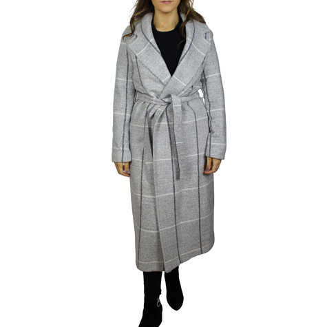 SophieB Light Check Grey Long Winter Coat - ONLINE SPECIAL - €85