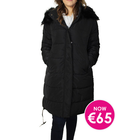 Kelya Black Fuax Fur Hooded Winter Coat