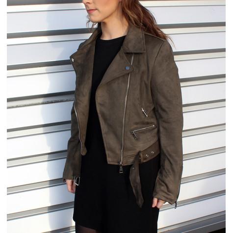 Stella Morgan Faux Suede Khaki Crop Biker Jacket